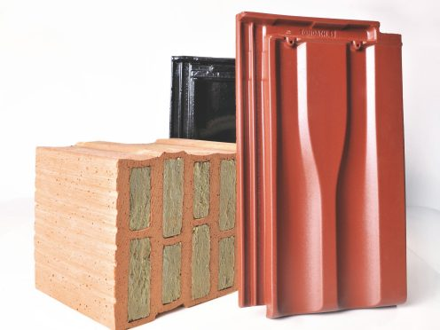 Set of brick and roof tile